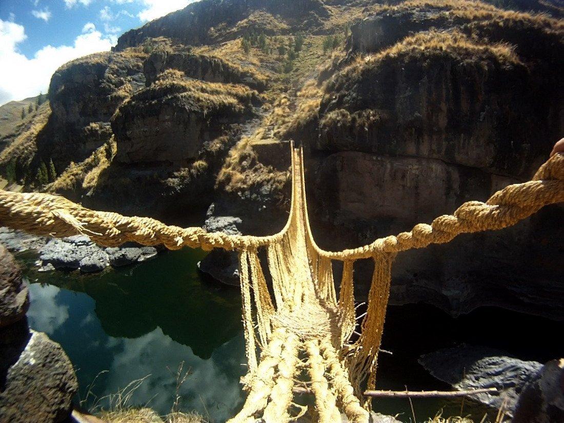 Rope swinging bridge pictures
